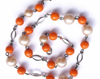 Vintage Necklace, Tangerine Glass And Faux Pearl Necklace