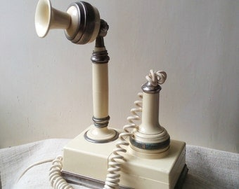 Vintage pastel cream  Rotary Phone 1950s retro telephone
