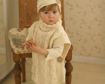 KNITTING PATTERN chunky hooded poncho Phoebe toddler por MukiCrafts