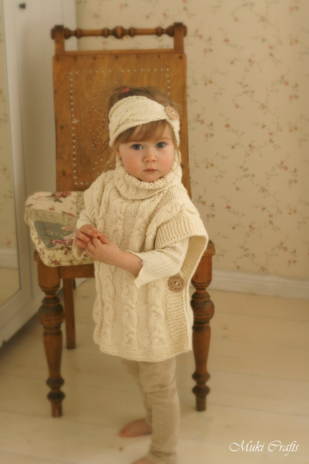 Knitting Pattern For Childs Poncho : KNITTING PATTERN cable poncho Robyn toddler child by MukiCrafts