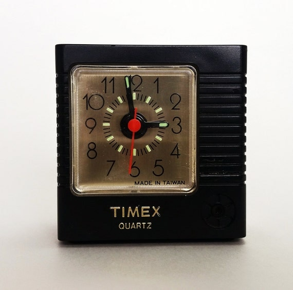 items similar to vintage timex alarm clock travel sized battery powered analog on etsy. Black Bedroom Furniture Sets. Home Design Ideas
