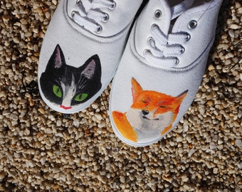Cute hand painted cat and fox shoes