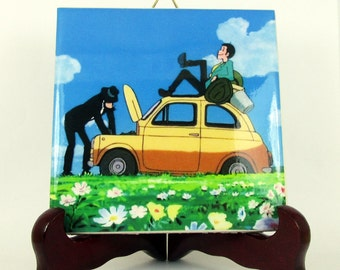 Lupin the III and Jigen from Castle of Cagliostro - inspired by - Ceramic Tile     Miyazaki Lupin The Third Studio Ghibli M1