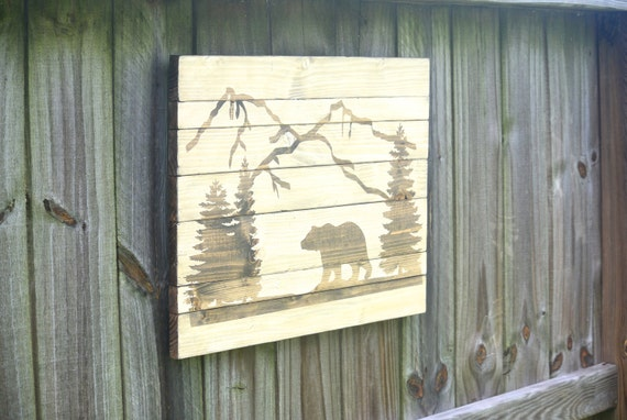 Pallet wall art rustic mountain art mountain by for Cabin in the woods wall mural