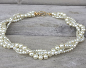 Three Strand Twisted Pearl Necklace, Three Strand Pearl Necklace