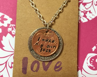 Lucky penny 'I make my own luck' necklace