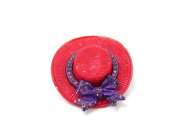 Red mesh red hat pin purple ribbon brooch red hat society for Red hat bling jewelry