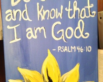 Bible verse and sunflower canvas