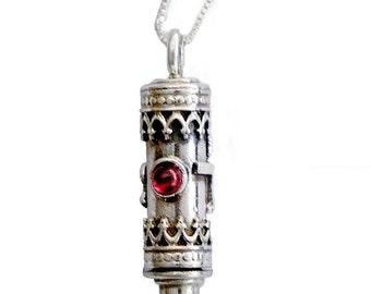 Tikkun Haklali Garnet Kabbalah Necklace: Silver