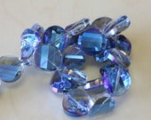 Glass Crystal Beads Clear  Dark  Blue  Color.