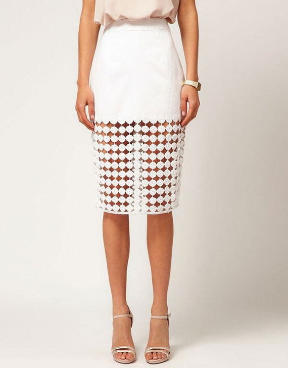 white crochet pencil skirt made to order lace by crocrocheting