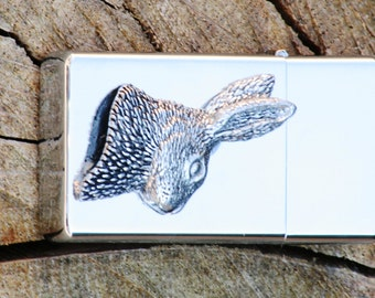 Hare Head Petrol Personalised Lighter Engraved Hunting Gift