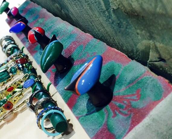 Reclaimed Pallet wood shelf /jewelry storage /Necklace holder makeup organizer stenciled Art Deco flowers 6 knobs 2 hooks bracelet bar