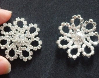 2 large diamante crystal buttons rhinestone embellishment cluster sewing UK 23mm