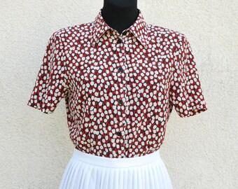 Color Full Silk Blouse Womens Peter Hahn Tulip Print Short Sleeve Office Shirt Secretary's Top Medium Size