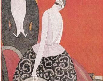 Vogue Magazine Cover 1920 art deco art nouveau home decor print fine art fashion vintage from 1981, 8.5 x 11.5 inches