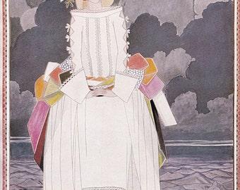 Vogue Magazine Cover art deco art nouveau home decor print fine art winter fashion vintage from 1981, 8.5 x 11.5 inches