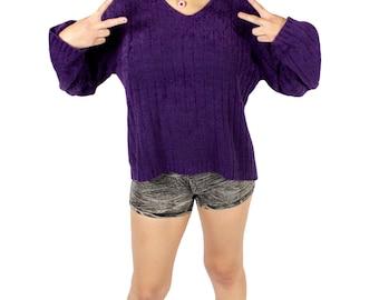 Purple 90s Sweater Top, 90s Sweater Top, Purple 90s Jumper, 90s Purple V Neck Sweater Top