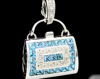 14 Karat White Gold Blue Topaz Gemstone & Diamond Pendant! Made in USA!