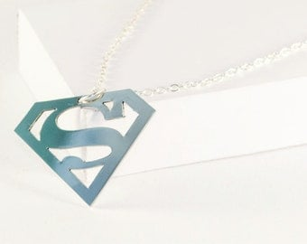 Superman necklace! Sterling silver chain!