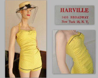 Lovely Vintage 40s 50s Pinup Swimsuit // HAVILLE BROADWAY,NY // Size 34/40 // Yellow With Dots