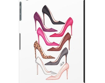 iPad case, ipad mini, ipad air, fashion illustration, fashion art, girl art, watercolor, shoes - The Painted Shoes