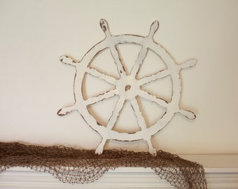 Wood Ship Steering Wheel Helm Cutout, Scroll Cut Steering Wheel Helm Nautical Theme Bedroom Home Decor
