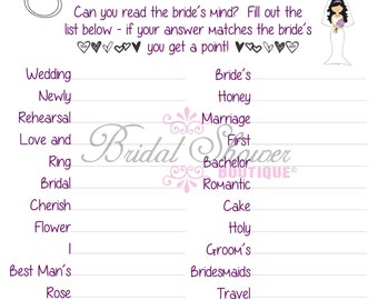 Mind Reader/ What is the Bride Thinking? Bridal Shower Game PLUM -Fun, Detailed, & Cute!