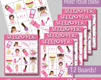 Sleepover Mini BINGO Game - Print Your Own - Instant Download!