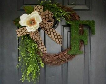 Magnolia Wreath for Door, Summer Wreath, Front Door Wreath, Grapevine wreath for Spring, Mothers Day wreath, Floral wreaths