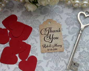 Thank you Tags, Wedding Thank You Tags, Custom Wedding Tags, Favor Tags. Bridal Tags. Set of 25 to 300 pieces, Custom Language available.