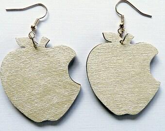 wooden earrings, apple - platinum white