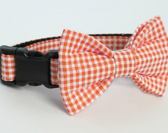 Orange Seersucker Gingham Dog Collar Bow Tie set, pet bow tie, collar bow tie, wedding bow tie