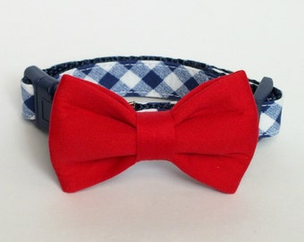 Red Cotton Sateen Dog Bow Tie ONLY, pet bow tie, collar bow tie, wedding bow tie