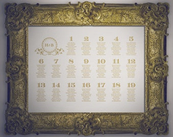 DIY Classic Gold Monogram Wedding Table Seating Chart
