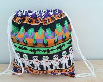 Treat or trick,Halloween backpack,children backpack, kid backpack,children bag, baby bag, kawaii bag, school bag,lunch bag,string backpack
