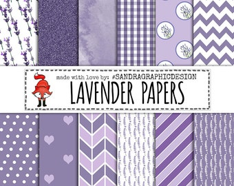 "Lavender digital paper: ""LAVENDER PAPER"" lilac purple digital paper, chevron, stripes, dots, gingham, watercolor, lavender patterns (1032)"