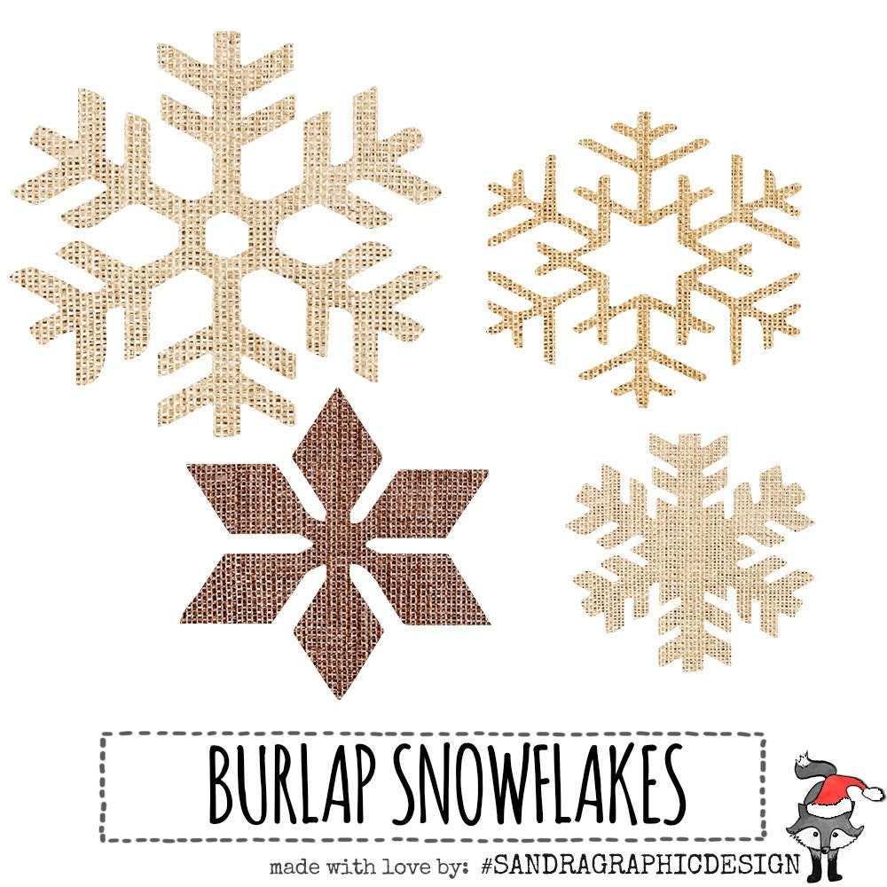 Christmas Clip Art BURLAP SNOWFLAKES With 15 Burlap Snow Flakes 5 Shapes 3 Colors Rustic 300 Dpi PNG Files 804