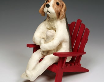 Beagle with Bone on Red Adirondack Chair, ceramic dog sculpture, original art, tan, black and white beagle ceramic sculpture on red chair