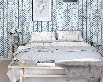 Removable Wallpaper / Self adhesive Wallpaper / Herringbone Wallpaper / Modern Wall Covering  - 026 SNOW / VIVID