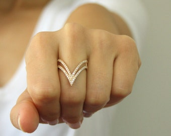 Double V Shaped Ring ~ Double V Ring ~ Thin Gold Ring ~  Curved Double Vogue V ring ~ Engagement Ring ~Mother's Day Gift