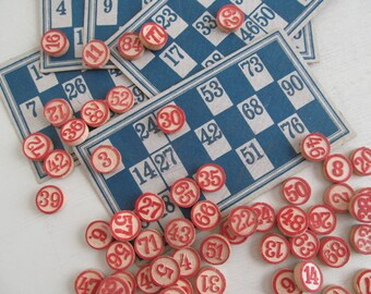 TEN delightful vintage wooden LOTTO NUMBERS~Raised red numerals on natural wood~Perfect for craft projects