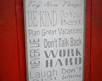 Large Customizable Family Rules Wooden Sign Inspirational Family Rules Wall Art Large Wood Sign Christmas Gift 2x4