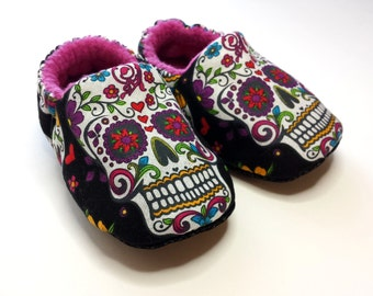 Sugar Skulls Baby Slippers,Toddler Slipper,soft Sole Shoe,Day of The Dead,Baby booties