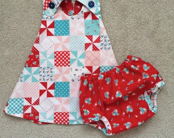 Red Checkered Dress , Pinwheel Dress , Checkered Dress , Red Baby Dress , Toddler Dress , Red Pinafore , Checkered Pinafore , Baby Pinafore