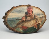 Fishing Decor, Your Fishing Picture on Wood, Fishing Gifts, Custom Wood Photo Transfer, Outdoor Pictures, Fish Pictures, Cabin Decor, Rustic