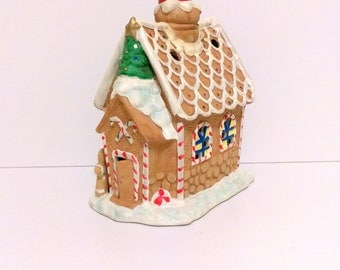 Gingerbread house gingerbread decor christmas ornaments holiday decor gingerbread ceramic house ceramic sculpture light up house