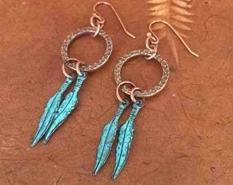 Dreamcatcher Style Copper Earrings with Patina Copper Feathers