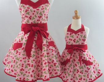 Mother & Daughter Retro Apron Set, Cherries or Cupcake Aprons, Mommy and Me Aprons, Mommie and Me Pink Retro Aprons, Gift for Wife, Daughter