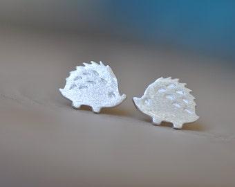 Sterling Silver Hedgehog Stud Earrings, SILVER Hedgehog Earrings, Silver Hedgehog Studs, Children's Earrings, Jamber Jewels 925